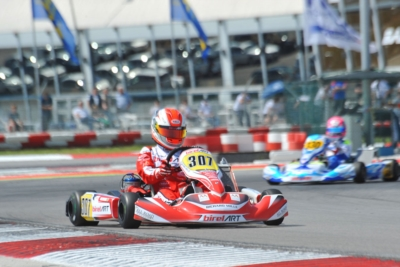 THE WSK SUPER MASTER SERIES AT ITS FINAL ROUND IN ADRIA: ARDIG� (I � TONY KART-VORTEX KZ), TORNQVIST (S � CRG-TM KZ2), BASZ (PL � KOSMIC-VORTEX OK), COLLET (BR � BIRELART-PARILLA OKJ) AND GOMEZ (E � CRG-TM 60MINI) LEAD THEIR CATEGORIES.