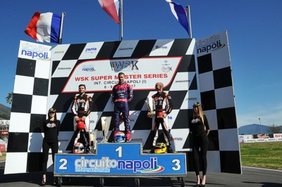 AT THE INTERNATIONAL CIRCUIT NAPOLI THE WINNERS OF THE FOURTH AND LAST ROUND ARE HAJEK (KOSMIC-VORTEX KZ2), BASZ (KOSMIC-VORTEX OK), MICHELOTTO (ZANARDI-PARILLA OKJ) AND CAMARA (BIRELART-TM 60MINI).