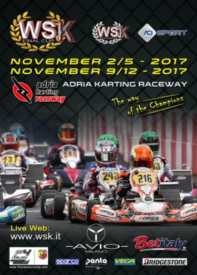 ENTRIES OPEN TO THE WSK FINAL CUP, THE DOUBLE APPOINTMENT ON 5TH AND 12TH NOVEMBER AT THE ADRIA KARTING RACEWAY. IT IS THE LAST EVENT OF THE 2017 WSK PROMOTION SEASON.