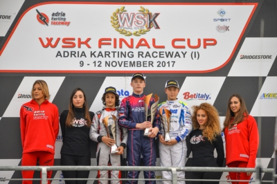 SURPRISING FINAL RACES OF THE  WSK FINAL CUP AT ADRIA. NIELSEN (DK – TONY KART-VORTEX OK), STANEK (CZ – KOSMIC-VORTEX OKJ), IACOVACCI (I – LUXOR-LKE KZ2) AND SPINA (I – CRG-TM 60MINI) WON THE FINALS AND THE SERIES. Image