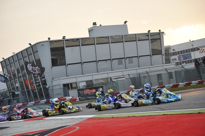WSK CHAMPIONS CUP AT THE ADRIA KARTING RACEWAY: MALONEY (BRB – FA-VORTEX OK), MINÌ (I – PAROLIN-PARILLA OKJ), VASILE (ROU – DR-MODENA KZ2) AND ANTONELLI (I – ENERGY-TM 60MINI) SETTING THE PACE IN THE TIMING PRACTICE.