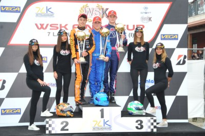 THE SECOND ROUND OF WSK FINAL CUP IN CASTELLETTO (PV): THE WINNERS EYCKMANS (B – PAROLIN-TM 60 MINI), AMAND (F – KR-PARILLA OKJ), RENAUDIN (F – SODI-TM KZ2) AND PATTERSON (GB – KR-PARILLA OK) CHARGING FOR THE CLASSIFICATION. Gallery