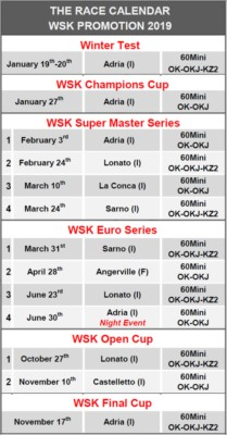 WSK PROMOTION UNVEILS ALL THE DETAILS OF THE 12 EVENTS OF 2019: FROM RACE FORMATS, ENTITLED CATEGORIES OF EACH EVENT, TYRES AND FUEL PROVISIONING, TO THE ELTO-WSK SILENCER FOR 60 MINI. Gallery