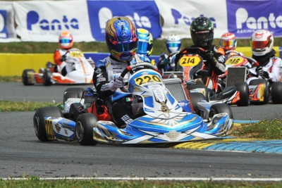 TRAVISANUTTO (I – KR-IAME OK), DE HAAN (NL – ENERGY-TM OKJ) AND MACINTYRE (GB – PAROLIN-TM 60MINI) ON TOP AT HALFWAY THROUGH THE WSK EURO SERIES' CAMPAIGN AFTER ROUND 2 IN ANGERVILLE (F). Image