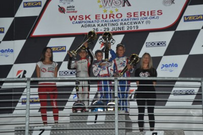 ANTONELLI (I – KR-IAME) WINS THE RACE AND TITLE IN OKJ. THE OK FINAL GOES TO MINÌ (I – PAROLIN-TM), BUT THE SERIES TO TRAVISANUTTO (I – KR-IAME), IN 60 MINI MATVEEV (ENERGY-TM) WINS THE RACE AND AL DHAHERI (ARE – PAROLIN-TM) THE CLASSIFICATION. Gallery