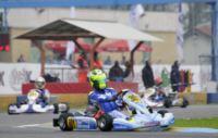 READY TO AWARD THE WSK FINAL CUP IN CASTELLETTO DI BRANDUZZO (ITALY): THE POLE SITTERS ARE HAJEK (CZ � PRAGA-PARILLA), VIGAN� (I � TOP KART-PARILLA), LORANDI (I � TONY KART-PARILLA) SZYSZKO (PL � KOSMIC-LKE).