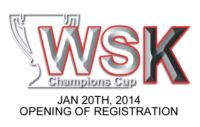 ENTRIES TO THE 2014 WSK CHAMPIONS CUP OPEN ON 20TH JANUARY. LOTS OF CHANGES ALSO FOR THE WSK SUPER MASTER SERIES.