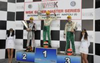 FIRST ROUND AT SARNO OF THE WSK SUPER MASTER SERIES. THE WINNERS ARE LAMMERS (NL � FK-PARILLA KZ2), BASZ (PL � TONY-VORTEX KF), TICKTUM (GB � ZANARDI-PARILLA KFJ) AND SZYSZKO (PL � TONY-LKE 60MINI).
