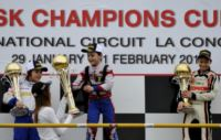 THE FIRST WINNERS OF THE WSK CHAMPIONS CUP AT LA CONCA: RICHARD VERSCHOOR (NL � EXPRIT-VORTEX KF), CHRISTIAN LUNDGAARD (DK - TONY KART-VORTEX KFJ) AND LUIGI COLUCCIO (I - LENZO KART-LKE 60 MINI).